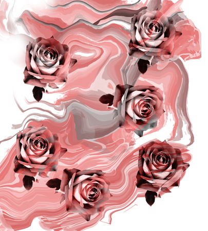 abstract paintings: rose flower pattern background