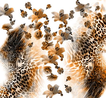animal print: mezcla de flores de fondo patrón de leopardo Foto de archivo