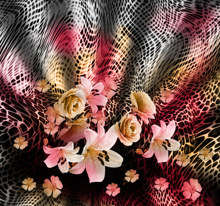 black leather texture: flower mix snake pattern background
