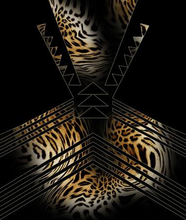 Léopard en cuir et motif géométrique Banque d'images - 93509341