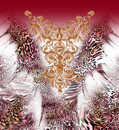 Motif de léopard baroque Banque d'images - 94670005