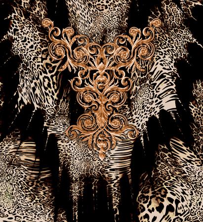 baroque leopard pattern background Banque d'images
