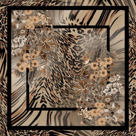 leopard flower pattern for design Imagens