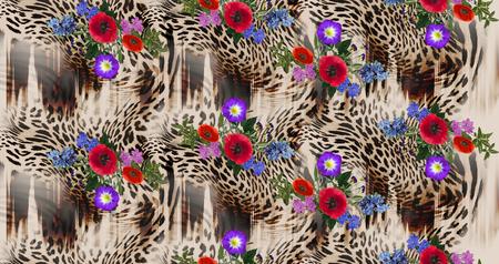 flower mix leopard pattern background