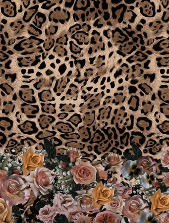 rose mix leopard  pattern background Imagens
