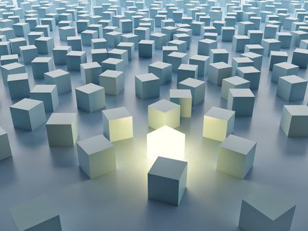 Luminous cube. Individuality Foto de archivo