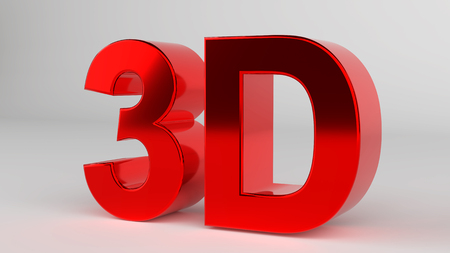Red 3D icon with reflection.