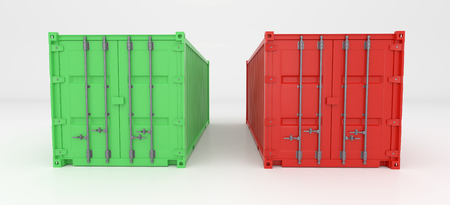 Green and red 3d Container