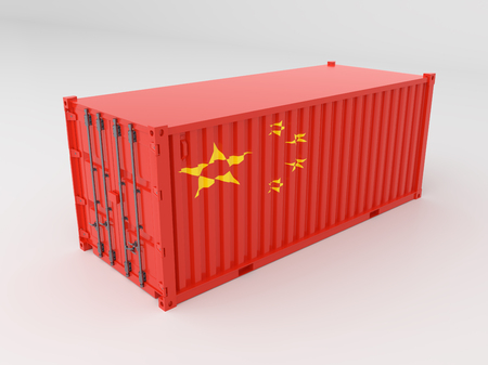 Chinese flag, 3d Container Isolated on White.