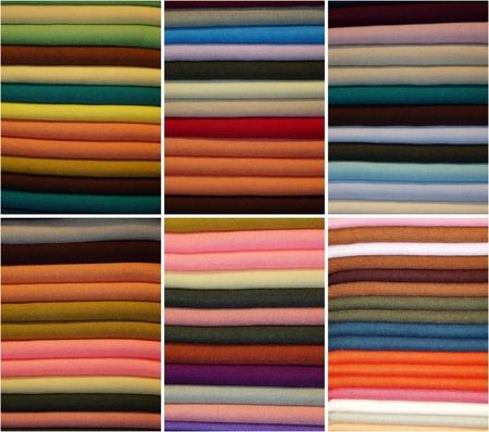 colored fabrics Stock Photo