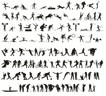 freestyle: sport silhouettes Stock Photo