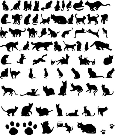 kat silhouetten Stock Illustratie