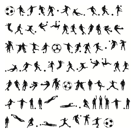 portero: siluetas de fútbol