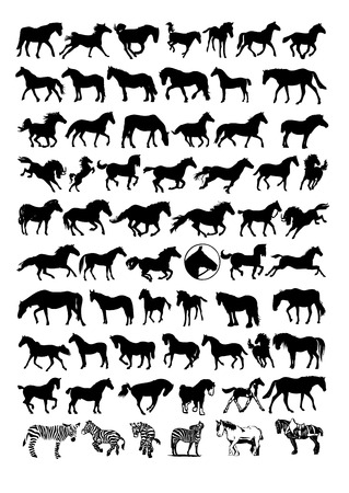 retriever: vector horse silhouettes Illustration