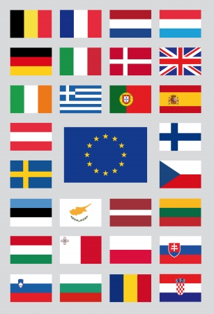 eu flag: flags of the european union Illustration