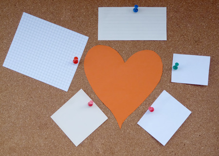 confine: Heart of the paper around the paper notes Stock Photo