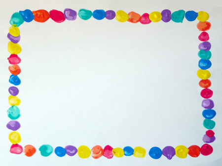 Frame with finger paint Stock Photo