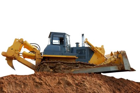 ripper: heavy bulldozer with ripper on the ground over white Stock Photo