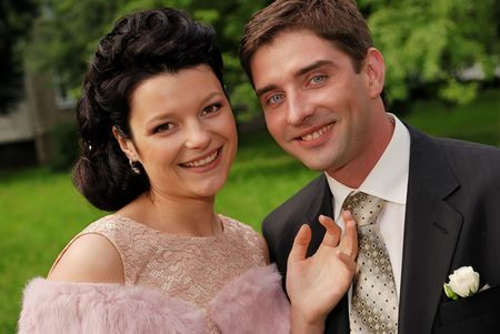 Close-up portrait of young couple outdoors. Stock Photo - 5343953