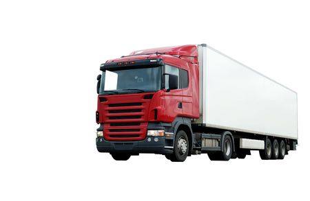lower camera view of red lorry with white trailer on the highway over blue sky Stock Photo - 5364246