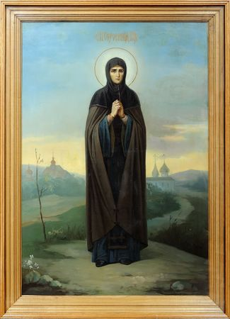iconography: Icon on canvas of the russian saint monk Efrosinia of Polotsk Stock Photo