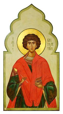 saintliness: Icon on wood of the Saint Pantaleon (Panteleimon) the Holy healer