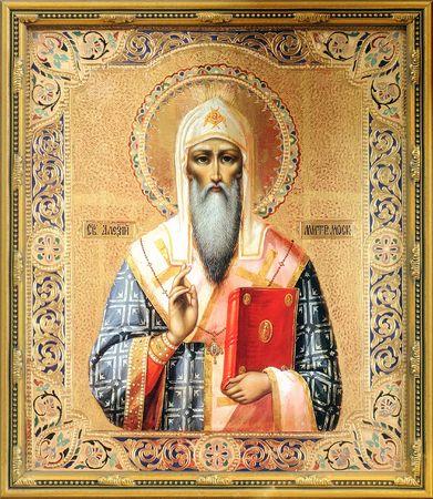 saintliness: Icon on wood of the Saint Alexius (Aleksij) the Metropolitan of Moscow