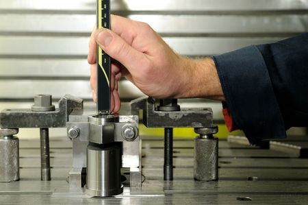 Check measurement of blank in attachment by hand caliper Stock Photo - 6182584