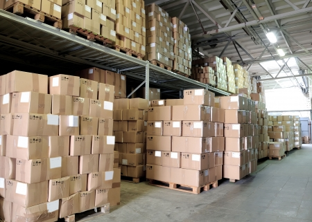 carton boxes in warehouse (perspective view) Stock Photo - 6250597