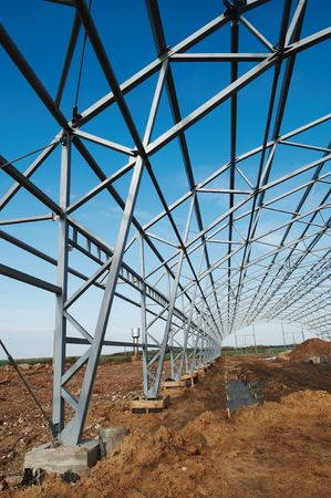 roof profile: building construction of metal steel framework outdoors