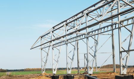 building construction of metal steel framework outdoors photo