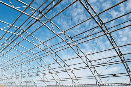 roof beam: building construction of metal steel framework outdoors