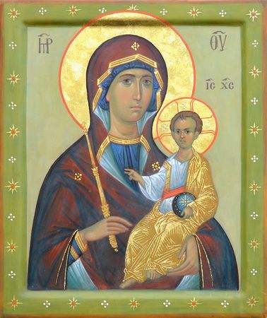 godliness: The Icon a Mother of God (Mary) and child (Jesus Christ) on gilding wood Stock Photo