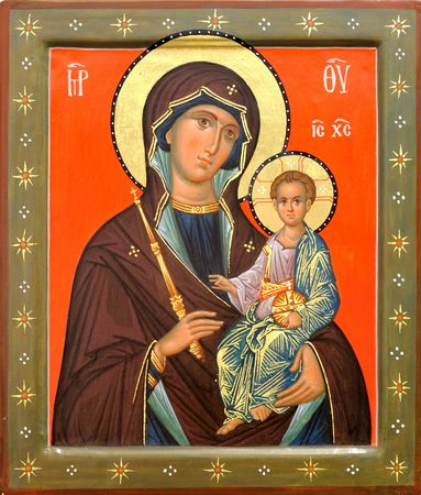 The Icon a Mother of God (Mary) and child (Jesus Christ) on gilding wood photo