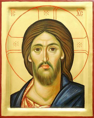 Representation of Jesus Christ face on wooden icon with gilding photo