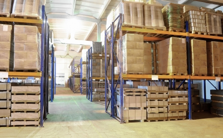 rack stack arrangement of cardboard boxes in a warehouse Stock Photo - 6419092