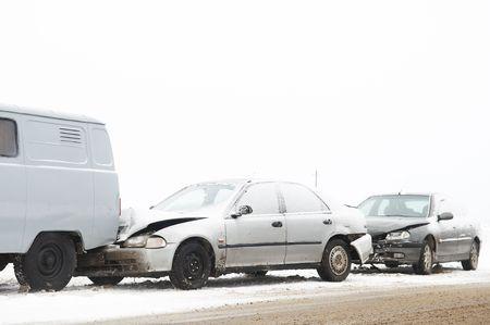 car crash ca accident at snow road in winter photo