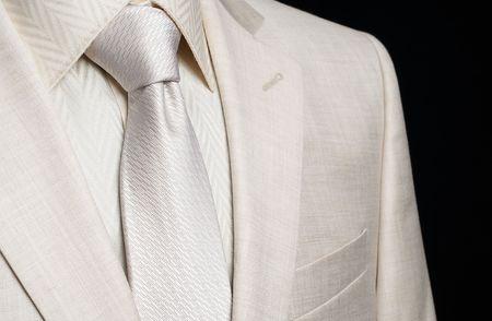 silk tie: light mans business suit and necktie Stock Photo
