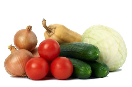 gruop of fresh ripe autumn vegetables isolated photo