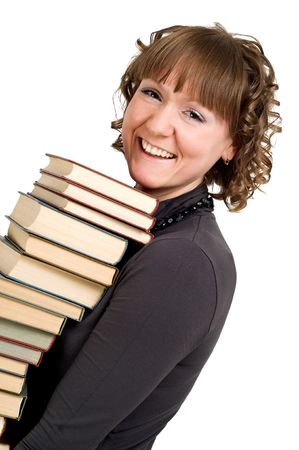 happy smiling student girl with pile of books over white photo