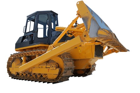 bulldozer loader with raised blade isolated on white. Wide angle photo