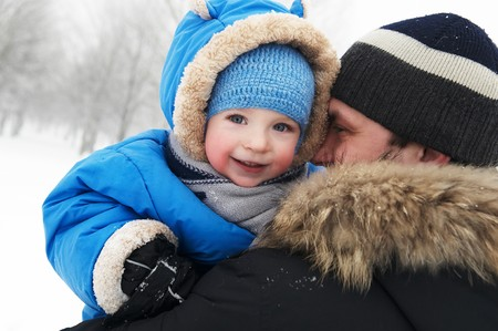 closeup portrait of father and son in winter outdoors Stock Photo - 12161548