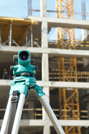 exact position: equipment theodolite tool at construction site works in summer Stock Photo