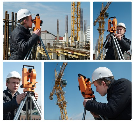tachymeter: set of images. worker surveyor measuring distances, elevations and directions on construction site by theodolite level transit equipment
