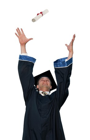 happy graduate student in cloak throwing up a diploma isolated photo