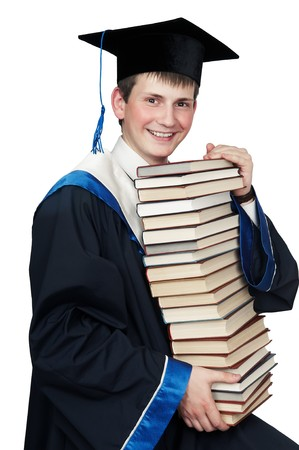 Young smiley graduate student in gown with books isolated Stock Photo - 7399868