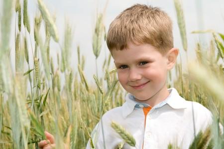 little smiley boy in on rye field outdoors photo