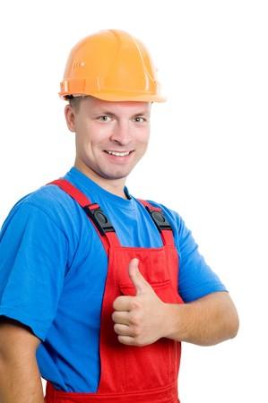 assentiment: Smiley heureux constructeur isol�s travailleur avec les pouces en geste de la main