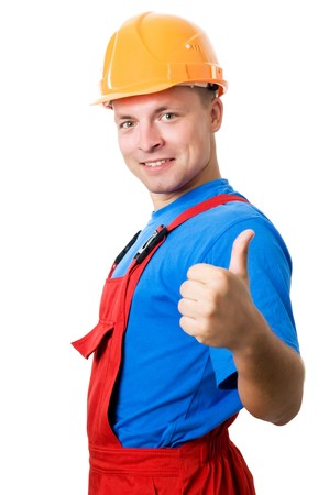 assent: Smiley happy isolated builder worker with thumbs up hand gesture