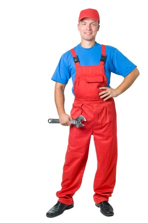 serviceman: full-length figure of happy repairman worker serviceman with adjustable wrench